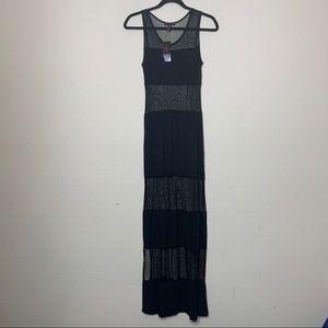 Material Girl Black Mesh Sleeveless Maxi Dress